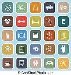 Wellness flat icons on blue background