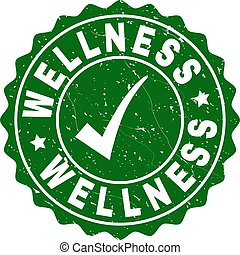Wellness Grunge Stamp with Tick