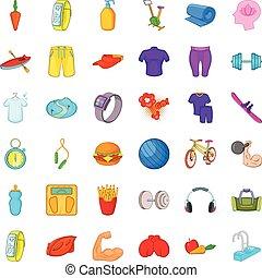 Wellness icons set, cartoon style