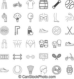 Wellness icons set, outline style