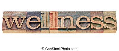 wellness, palavra, em, letterpress, tipo