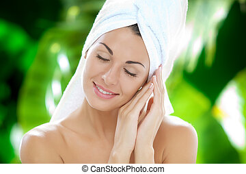 wellness - portrait of young beautiful woman in spa...
