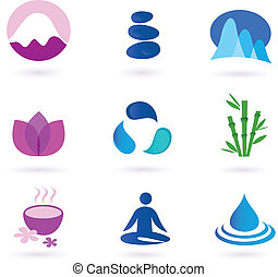 Wellness, relaxation and yoga icon - Vector set of 9 graphic...