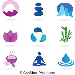 wellness, rilassamento, e, yoga, icona
