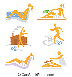 Wellness, sauna, spa, massage icons - Set of wellness, sauna...