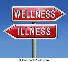 wellness, sjukdom, eller