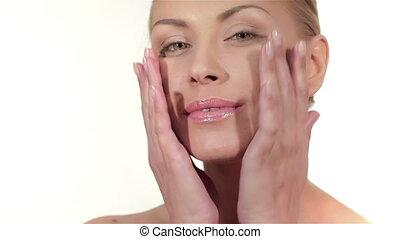 Wellness, skincare and naturally make-up. Pure beauty model...
