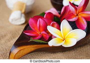 Wellness spa & aromatherapy concept with frangipani flower ...