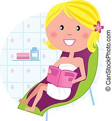 wellness, &, spa:, mulher relaxando, ligado, a, cadeira...