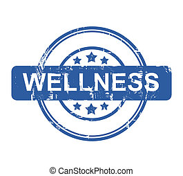 Wellness stamp with stars isolated on a white background.