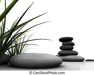 wellness - 3d rendered illustration of some grey stones