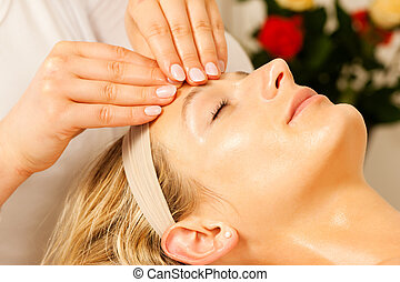 wellness, tête, apprécier, masage, femme