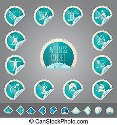 wellness theme icon vector set, tollkit placed in stamp shape