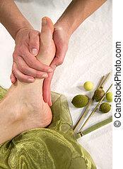 wellness, tongschar, -, voet, samenstelling, masseren