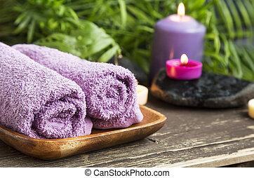 wellness, towels., 背景, 蝋燭, エステ, 綿, におい