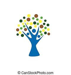 wellness, træ, vektor, konstruktion, skabelon, logo, ikon