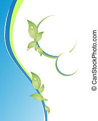 wellness - vector illustration of leaves on blue waves