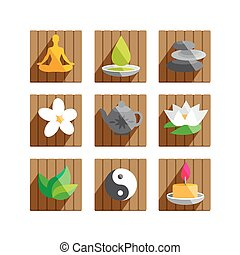 Wellness vector flat icons set.
