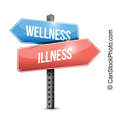 wellness versus illness road sign illustration design over a...