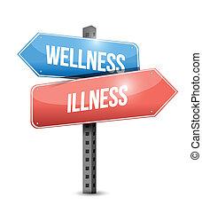 wellness versus illness road sign illustration design over a...