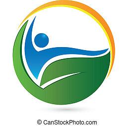wellness, vida, e, saúde, logotipo