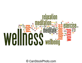 Wellness word cloud with white background