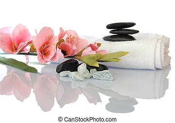 wellness zen and spa still life with flower towel and...