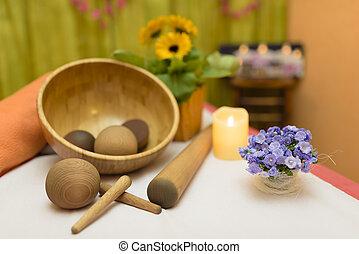 Welness Decoration - Massage salon decoration, wooden tools...