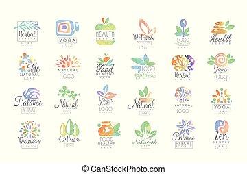 Welness, zen, yoga, herbal center, healthy food logo ...
