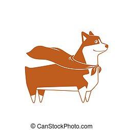 Welsh Corgi dog with superhero cape. Vector