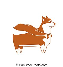 Welsh Corgi dog with superhero cape. Vector