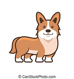 Welsh Corgi Pembroke. Cartoon Style Vector