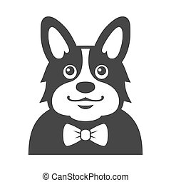 Welsh Corgi Pembroke wit Bowtie Icon. Cartoon Hipster Style Vector