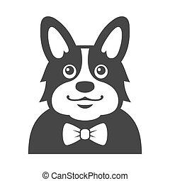 Welsh Corgi Pembroke wit Bowtie Icon. Cartoon Hipster Style Vector