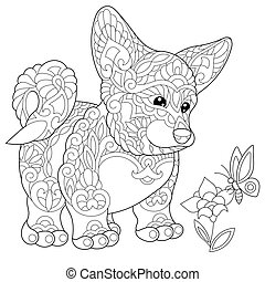 Welsh corgi puppy and butterfly - Coloring page of welsh...