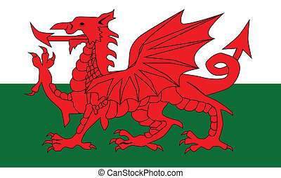 Welsh Dragon Flag - The national dragon flag of Wales