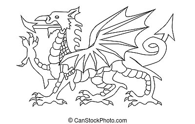 Welsh Dragon Outline - The Welsh Dragon in black and white...