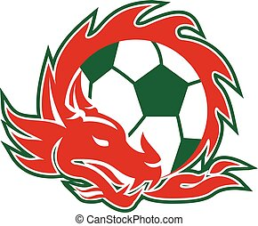 Welsh Dragon Soccer Ball - Retro style illustration of a...