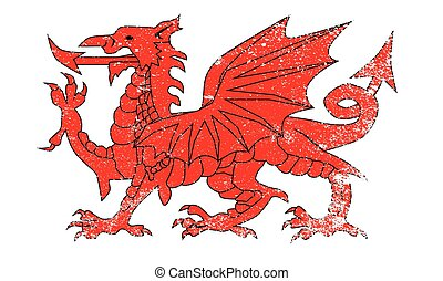 Welsh Dragon With Grunge - The Welsh Dragon isolated over a...