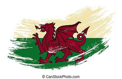 Welsh flag grunge brush background. Vector illustration. -...