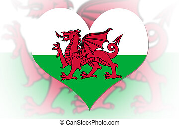 Welsh Flag heart - Welsh Flag in the shape of a heart