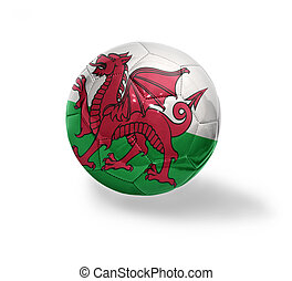 Welsh Football - Football ball with the national flag of...