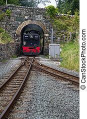 Welsh Highland narrow gauge railway. Steam Locomotive approaches