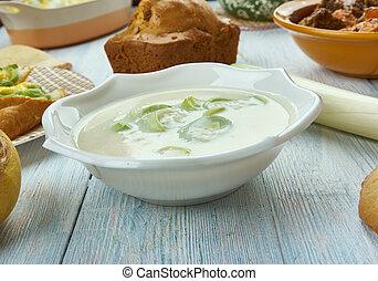 Welsh Leek and Stilton Soup, Welsh, cuisine, British...