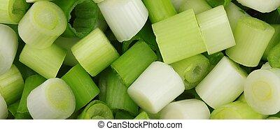 Welsh Onion (Allium Fistulosum) - Raw pieces of welsh onion...