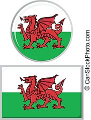 Welsh round and square icon flag.
