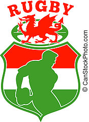 illustration of a Welsh Rugby player silhouette running passing ball inside shield background and red Wales dragon