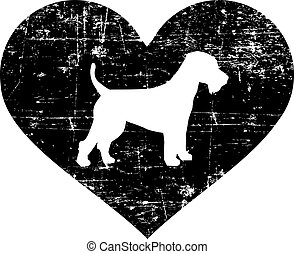 Welsh Terrier in heart black and white