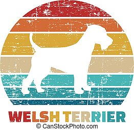Welsh Terrier vintage color - Welsh Terrier silhouette...
