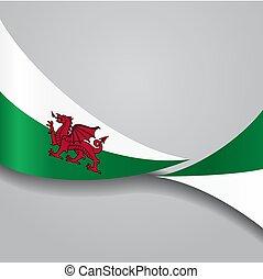 Welsh wavy flag. Vector illustration. - Welsh flag wavy...